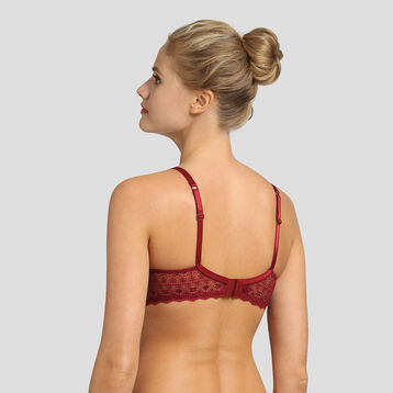 Dim Daily Glam red lace and dotted swiss mesh bra , , DIM