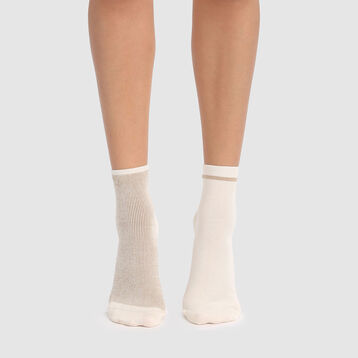 Cotton Style 2 pack fancy ankle socks in ivory and gold lurex, , DIM