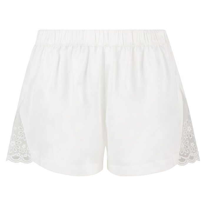 Dim Graphic Wedding English embroidery white satin shorts, , DIM