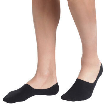 Pack of 2 pairs of black cotton footsies for men, , DIM