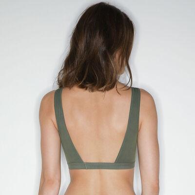 Jolie Madame Halter top with lace bib Green Khaki, , DIM