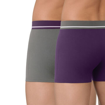 Lot de 2 boxers violet et gris en coton stretch Soft Touch-DIM