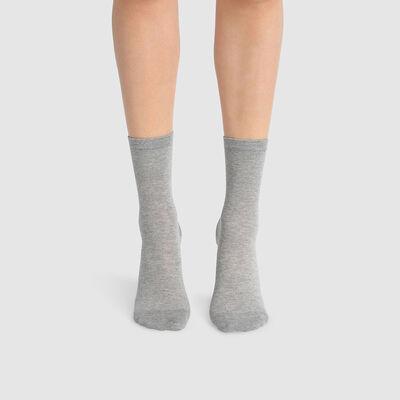 Набор 2шт.: Серые женские носки из лиоцелла и хлопка Green by Dim, , DIM