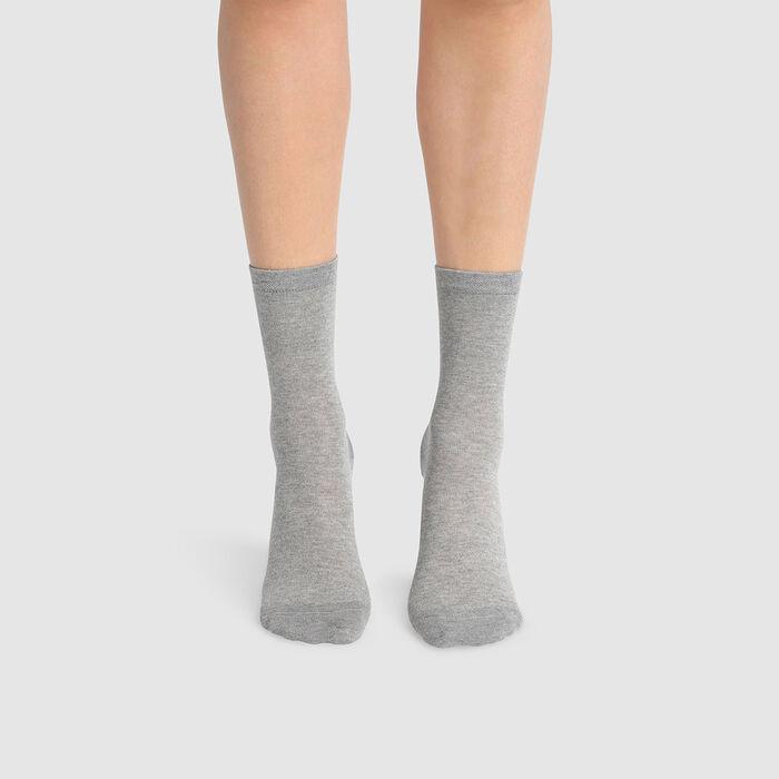 Lot de 2 paires de chaussettes femme coton lyocell gris Green by Dim, , DIM