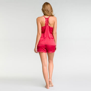 Ruby pink satin pyjama camisole with lace - Glamour, , DIM