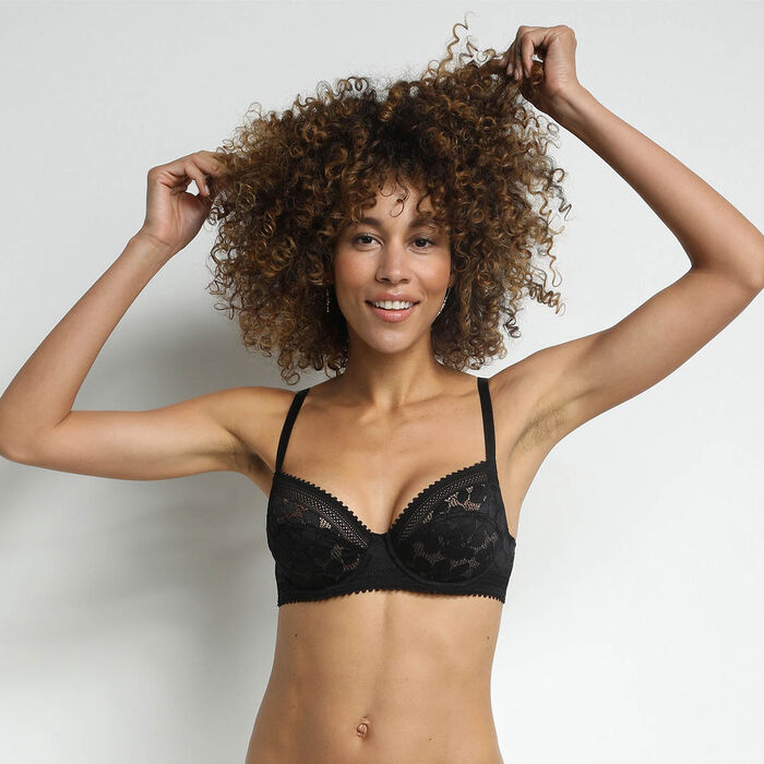Black Daily Glam Floral Lace Full Cup Bra, , DIM