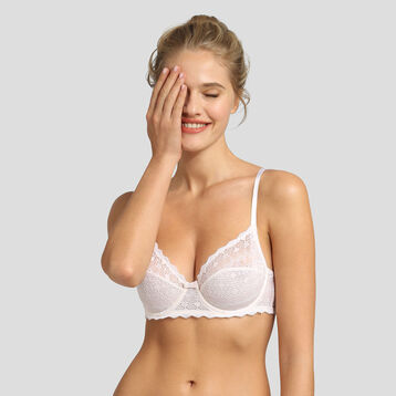 Dim Daily Glam pearl graphic lace and dotted swiss mesh bra , , DIM