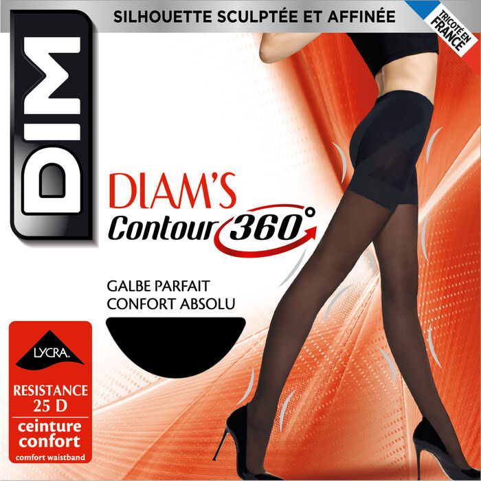 Black Diam's Contour 360° Semi-Opaque 25 slimming tights, , DIM