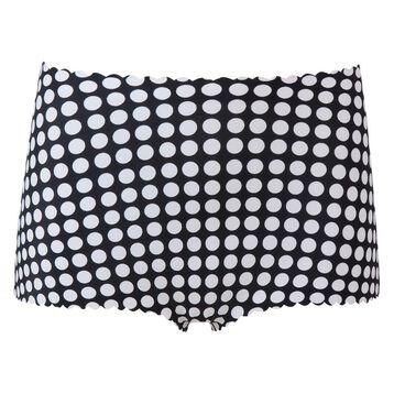 Black high-waist shorty with white polka dots Agnès B. x Dim, , DIM
