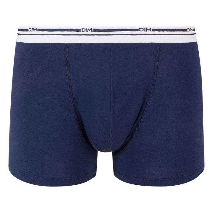 Classic colors stretch cotton trunks in denim blue with white waistband, , DIM
