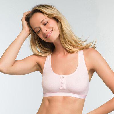 Mottled light pink bra in stretch cotton Casual Line, , DIM