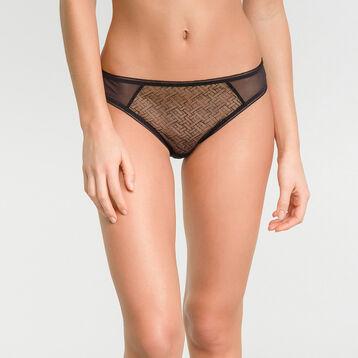 Women's brief in black velvet mesh - Dim Chic Line, , DIM