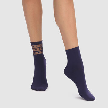 Skin Dots 2 pack microfiber ankle socks in petrol blue with mesh insert, , DIM