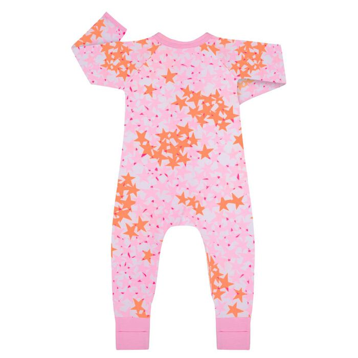 Pink Stars Print Cotton Stretch Zipped Pyjama Dim Baby, , DIM