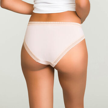 Nude Pink microfiber brief Micro Lace Panty Box, , DIM