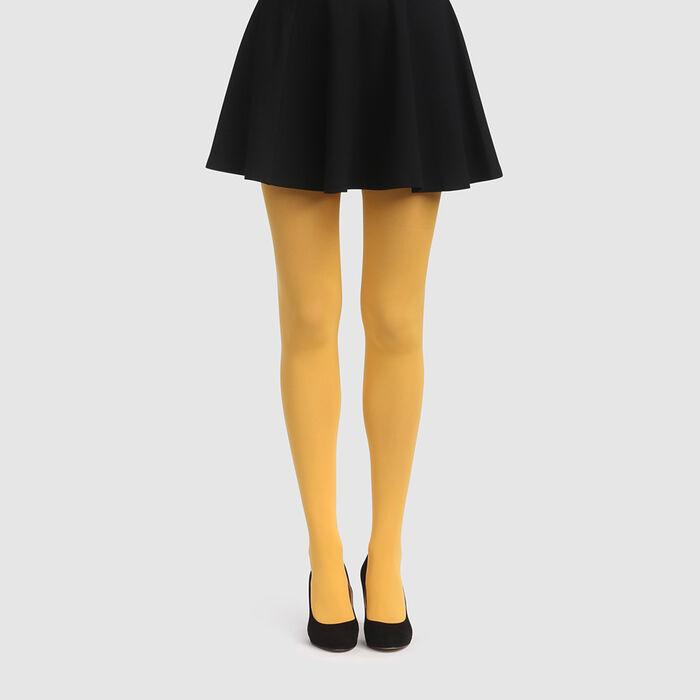 Golden yellow opaque velvet tights 50D Dim Style, , DIM