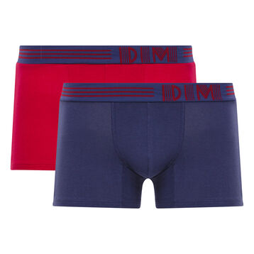 Lot de 2 boxers rouge et bleu - Soft Touch Pop, , DIM
