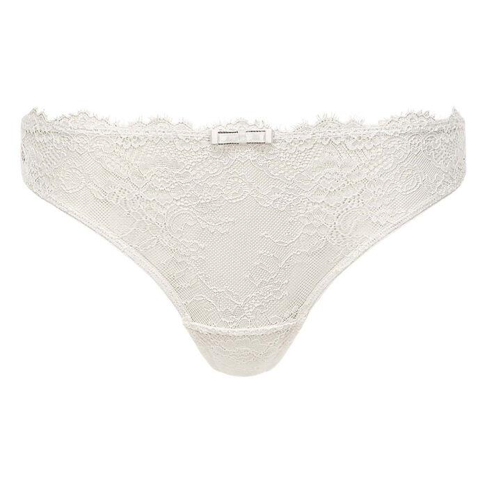 Tanga en dentelle blanche pour femme et microfibre Refined Lace, , DIM