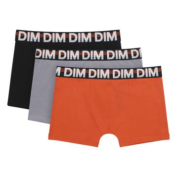 3 pack stretch cotton boxers in Pumpkin color Pomo Eco, , DIM