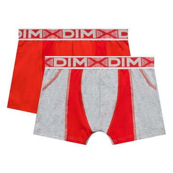 Lot de 2 boxers garçon gris chiné et coquelicot - 3D Flex Air, , DIM