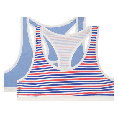 2 pack French Riviera Bic blue cotton sports bras Dim Girl, , DIM