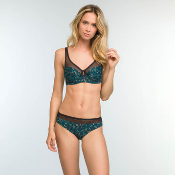 Green Leaf Print Full Cup Underwired Bra Generous, , DIM