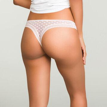 Nude Pink women's polka dot tulle thong Dotty Mesh Panty Box, , DIM