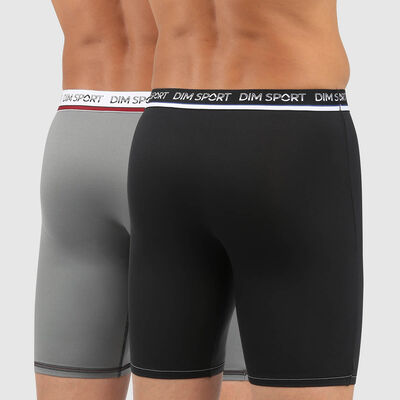 Dim Sport pack of 2 active thermoregulation microfibre trunks in black and grey, , DIM