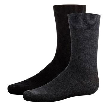 2 pack Black and Grey men's calf socks Cotton Style, , DIM