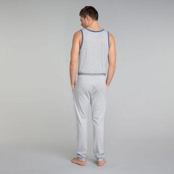 Mottled grey pyjama top with blue details - Essential, , DIM