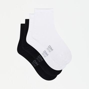 Dim Modal 2 pack women's modal ankle socks in black and white, , DIM