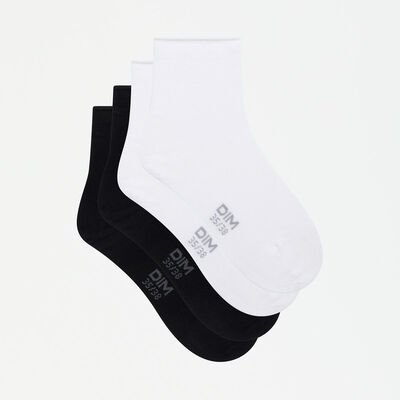 Dim Modal 2 pack women's modal ankle socks in black and white, , DIM