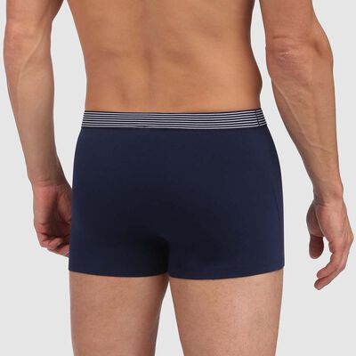 Mix and Print stretch cotton trunks in denim blue with striped waistband, , DIM