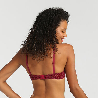 Dim Sublim Velour varnish red push-up triangle bra, , DIM