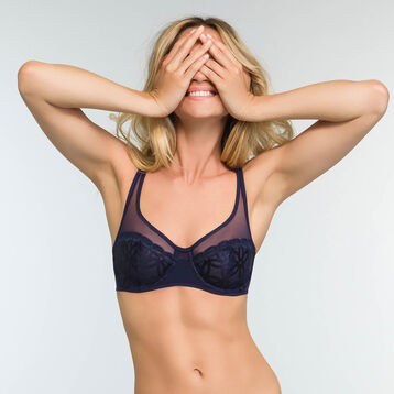 Infinite Blue full cup underwired bra with embroidery Generous MOD, , DIM
