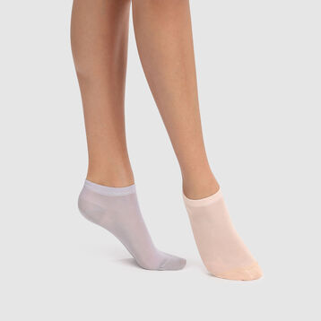 Light Cotton 2 pack short light cotton socks in pink bellini and silver grey, , DIM