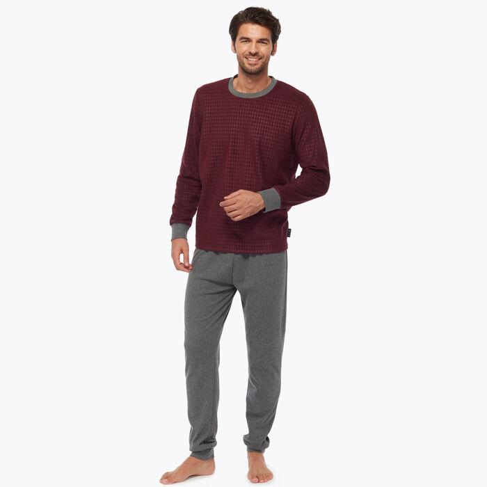 Bordeaux Men's pyjama set burgundy with geometric print, , DIM