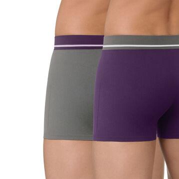 Lot de 2 boxers violet et gris en coton stretch Soft Touch-DIM