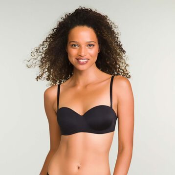 Strapless Non-Wired Black InvisiFree Bra, , DIM