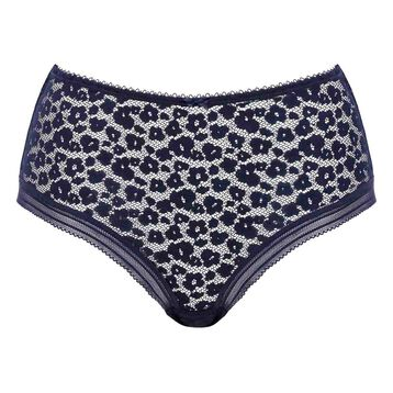 Infinite Blue laced and printed high waist brief Leopard Line, , DIM