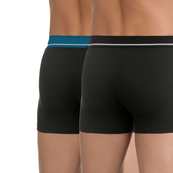 Pack of 2 pairs of black Soft Touch stretch cotton trunks, , DIM