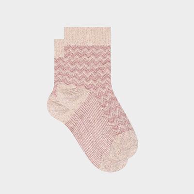 """Розовые женские носки с узором """"Ёлочка"""" и люрексом. Сделано во Франции, , DIM"""