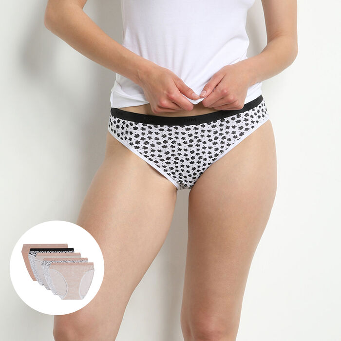 Les Pockets Pack of 5 Women's Stretch Cotton Briefs with Romantic Patterns, , DIM