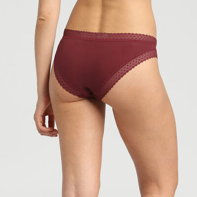 Dim Trendy Micro deep chocolate microfibre and lace briefs, , DIM