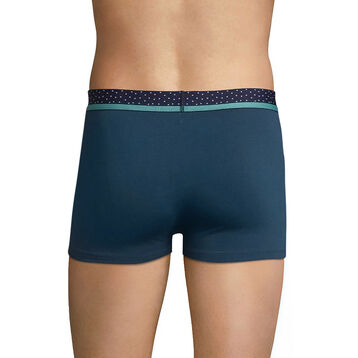 Blue trunks in cotton with polka dots waistband - DIM Mix & Dots, , DIM