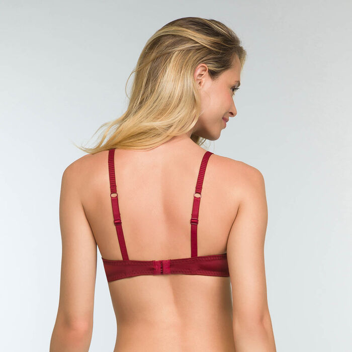 Cherry Red Push up Sublim Dentelle Foulard Bra, , DIM