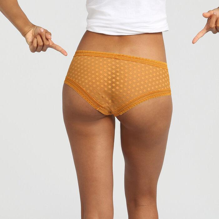 Желтые кружевные шорты с принтом горох Dim Dotty Mesh Panty Box, , DIM