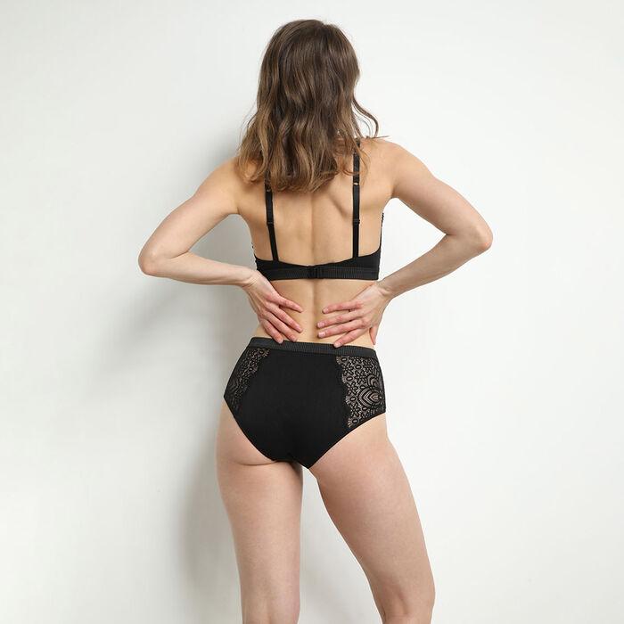 Black Jolie Madame microfiber and lace triangle bra, , DIM