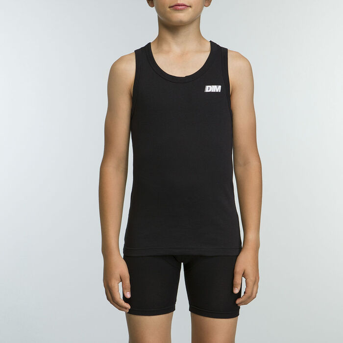 Black boy's sport tank top 100% cotton Basic Sport, , DIM