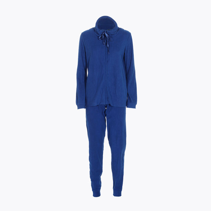 Women's pyjama set in Blue fleece, , DIM